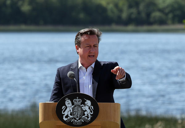 British Prime Minister David Cameron at a news conference Tuesday at the conclusion of the G-8 summit in the Lough Erne resort near Enniskillen, Northern Ireland.