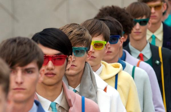 The runway finale at Burberry Prorsum's spring and summer 2014 men's runway collection, which took place at London's Kensington Gardens.
