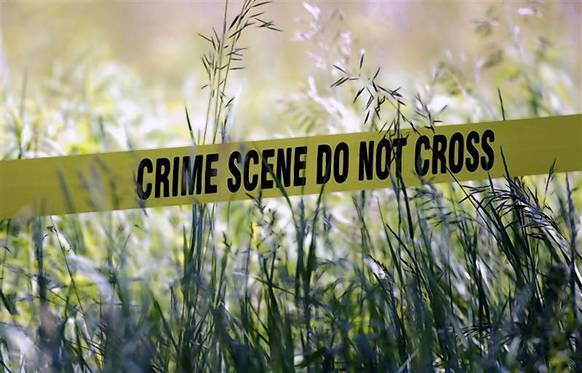 Yellow crime tape surrounds a field which investigators are digging up in the search for the remains of former Teamsters boss Jimmy Hoffa in Oakland Township, Michigan.