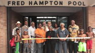 Maywood, Community, and YMCA Officials cut ribbon to formally open the Fred Hampton Family Aquatic Center for the 2013 Swim Season