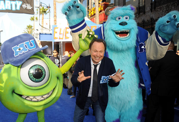 "Billy Crystal sports his alma mater's sweater at the premiere of Disney/Pixar's ""Monsters University."""