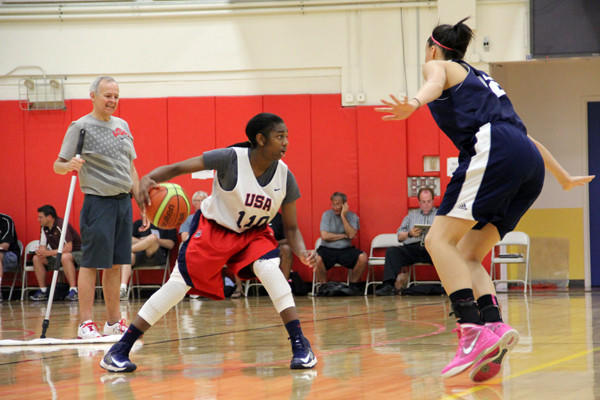 Taylor Murray, a rising junior at Annapolis Area Christian who will play for the U.S. under-16 women's basketball team in the 2013 FIBA Americas U-16 championships in Cancun, participates in the tryouts in Colorado last month.