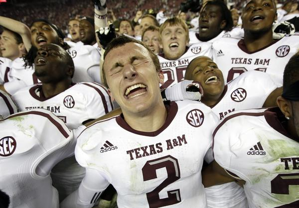 Texas A&M quarterback Johnny Manziel celebrates after the Aggies' 29-24 win over Alabama in November.