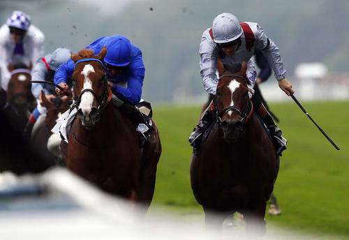Kevin Manning (L) on his mount Dawn Approch races to win the St James's Palace Stakes ahead of Richard Hughes on Tornado during the first day of the Royal Ascot horse racing festival at Ascot, southern England, June 18, 2013. REUTERS/Darren Staples   (BRITAIN - Tags: SPORT HORSE RACING SOCIETY)