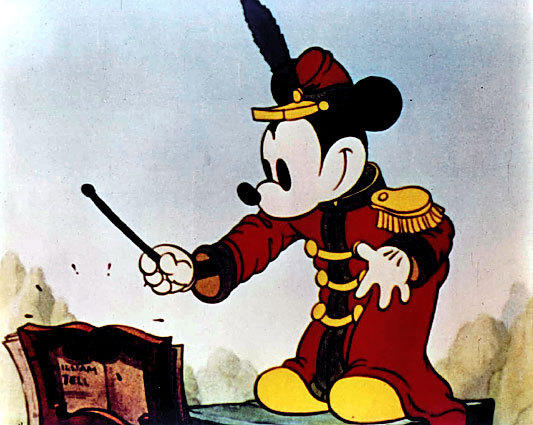 "Mickey Mouse in his first color cartoon, 1935's ""The Band Concert."""
