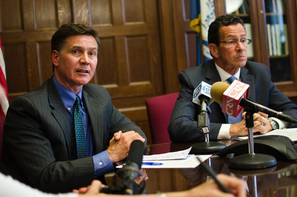 Commissioner Dan Esty of the state Department of Energy and Environmental Protection and Gov. Dannel Malloy briefed the press in the commissioners office Tuesday on energy and environment legislation passed during the legislative session.