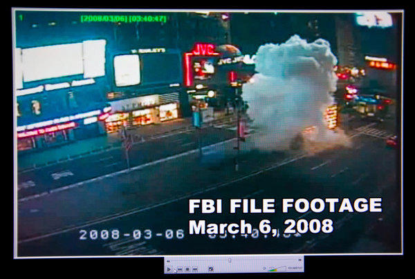 A video provided by the FBI shows the moment of detonation in the March 2008 Times Square bombing in New York.