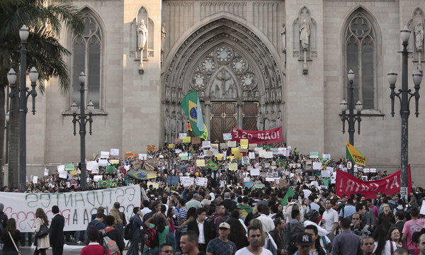 Students protesting rising transportation fares take part in a demonstration in Sao Paulo, Brazil.