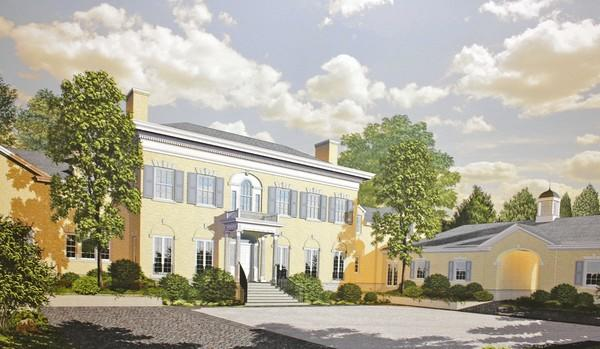 This architectural rendering shows what the Gage House will look like after the original house is razed and rebuilt at 1175 Whitebridge Hill Road. John O'Brien and his wife bought the house for about $6.5 million and are planning to preserve the entire front facade of the 155-year-old mansion.