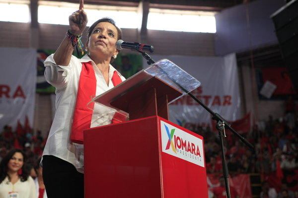 Presidential candidate Xiomara Castro speaks during a convention by the Free party in Tegucigalpa, Honduras.