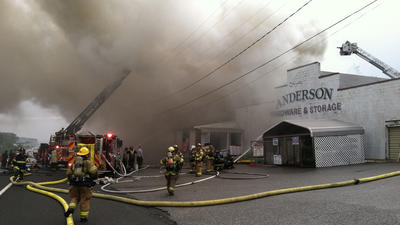 Firefighters battle blaze at Joppa hardware store