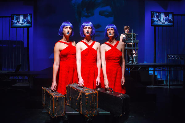 "Ophelia (Kat Johnston, rear) confronts her own fractured psyche (Leah Harf, Saffron Mazzia, Cynthia Mance) in ""Opheliamachine."""
