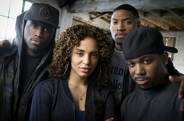 """Y'Lan Noel (left), Erica Dickerson, London Brown and Clinton Lowe star in Fuse's """"The Hustle."""""""