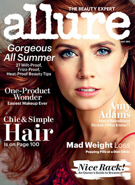 """Man of Steel"" star Amy Adams on the July 2013 cover of Allure magazine."