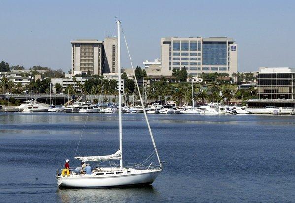 The Hoag Memorial Hospital Presbyterian complex in Newport Beach, seen from the Via Lido bridge.