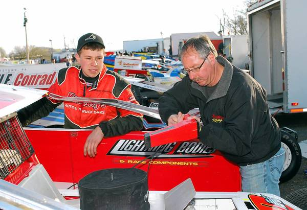 As a youngster, Brett Kressley of Orefield (left) watched his father, Brian Kressley, race at Grandview Speedway. Now Brett is racing there, and has three wins at the Bechtelsville track this season.