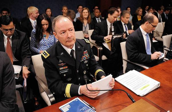 Gen. Keith Alexander, director of the National Security Agency, testifies about NSA surveillance before the House Intelligence Committee.