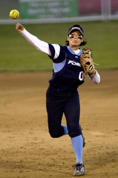 The Philadelphia Force women's pro softball team played in Allentown for four seasons. Here, Audrey LaFountain makes a throw to first in 2009.
