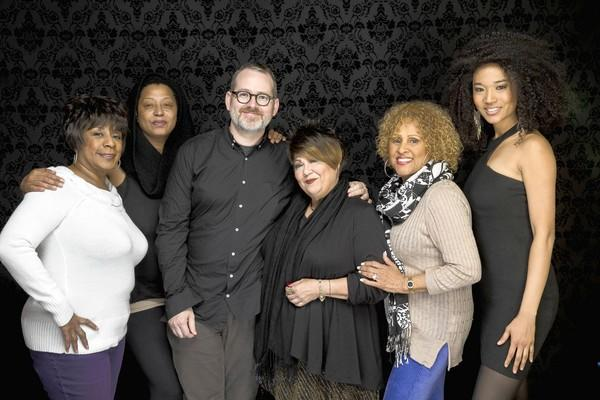 "Merry Clayton, left, Lisa Fische, director Morgan Neville, Tata Vega , Darlene Love and Judith Hill from the documentary ""Twenty Feet From Stardom."""