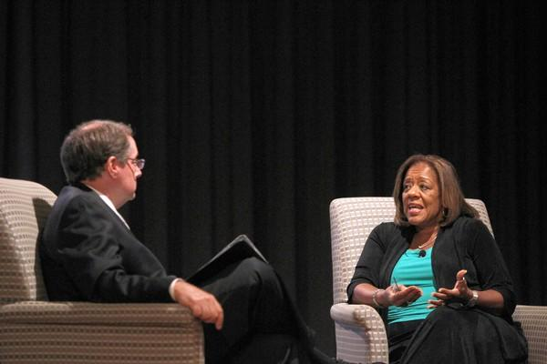 "Chicago Public Schools CEO Barbara Byrd-Bennett talks with Bruce Dold, the Chicago Tribune's editorial page editor, during a ""Chicago Forward"" event Tuesday at the Chase Auditorium."