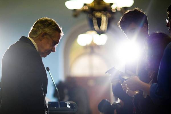 Senate Majority Leader Harry Reid (D-Nev.) discusses the immigration legislation with reporters. He has set a Fourth of July deadline to finish the bill, giving senators until the end of next week to wrap up.