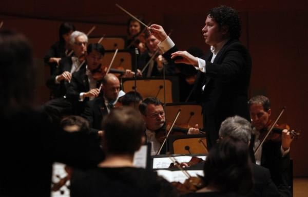 Gustavo Dudamel conducts the Los Angeles Philharmonic in February at Walt Disney Concert Hall.