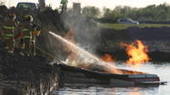 A boat belonging to the Aberdeen Aqua Addicts Ski Team was destroyed after it caught fire on Dahme Lake Tuesday evening.