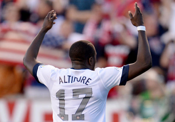 USA's Jozy Altidore celebrates after scoring a goal against Honduras during the World Cup qualifier at Rio Tinto Stadium in Sandy, Utah.