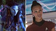 "Zoe Saldana as Neytiri in ""Avatar"" and as Uhura in ""Star Trek."""