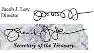 WASHINGTON -- Treasury Secretary Jacob J. Lew has improved his penmanship, unveiling a less loopy version of his unusual signature that will be printed on U.S. paper currency.