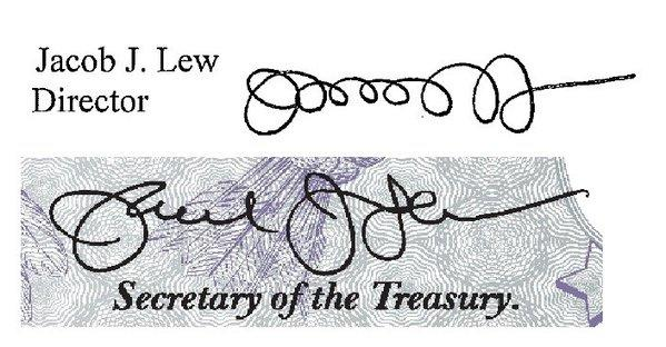 Treasury Secretary Jacob J. Lew's signature as director of the Office of Management and Budget (top) and his revised signature that will appear on U.S. paper currency.