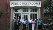 Ribbon-cutting ceremony at the new public toilets in Smithfield.