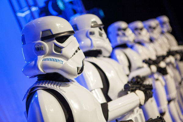"Stormtroopers take over the stage at a private Disney event at the Licensing Expo in Las Vegas. Walt Disney Co. is looking for a boost from ""Star Wars"" when three new movies are released over the next few years."