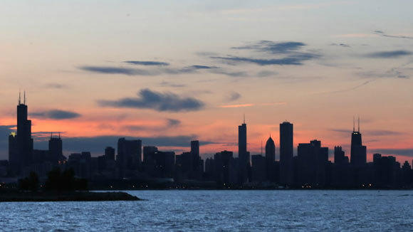 A Chicago sunset photographed from Promontory Point in Hyde Park May 24.