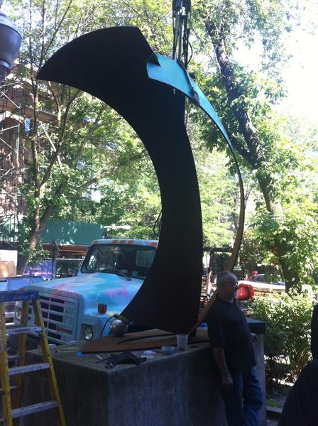 Night in Tunisia, the replacement for the giraffe sculptures at Elaine Place, being installed.