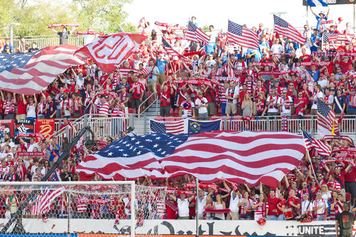 USA fans during the National Anthem prior to a World Cup qualifying match against Honduras at Rio Tinto Stadium. USA won 1-0.