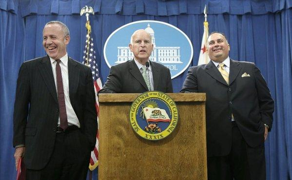 From left, State Senate President Pro Tem Darrell Steinberg (D-Sacramento), Gov. Jerry Brown and Assembly Speaker John Perez (D-Los Angeles) discuss the California budget during a Capitol news conference in Sacramento last week.