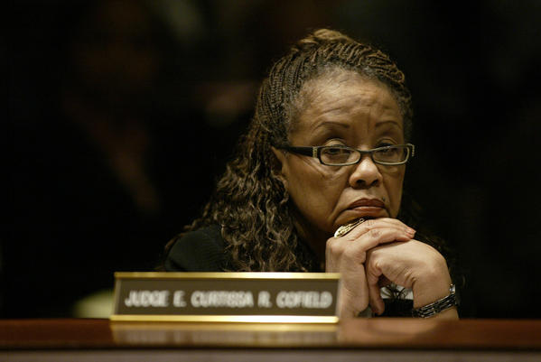 Superior Court Judge E. Curtissa Cofield listens to testimony during a 2009 hearing.