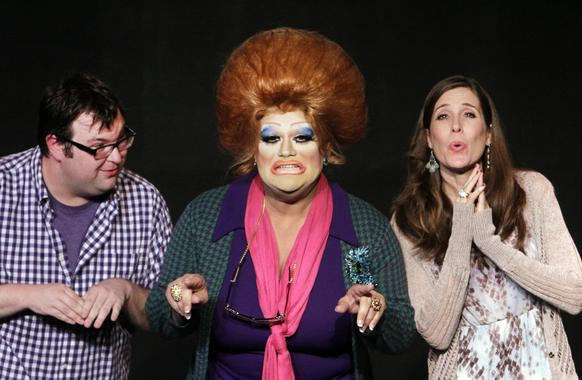 "Ryan O'Connor, left, Leigh Ann Smith, Joe Greene (in drag) and Lani Shipman perform in ""The Real Housekeepers of Studio City,"" a musical at the Fringe Festival 2013 in Hollywood. Fringe Festival is a 17-day celebration of various forms of theater arts."