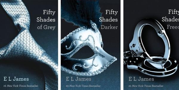 "This file combo made of book cover images provided by Vintage Books shows the ""Fifty Shades of Grey"" trilogy by bestselling author E L James."