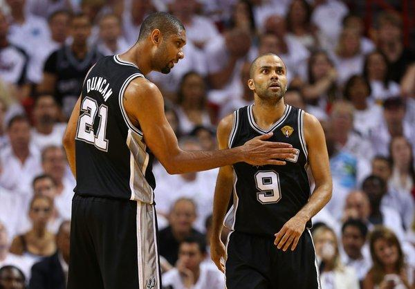 Tim Duncan, left, and Tony Parker will need to find a way to bounce back from the Spurs' disappointing finish in Game 6 of the NBA Finals.