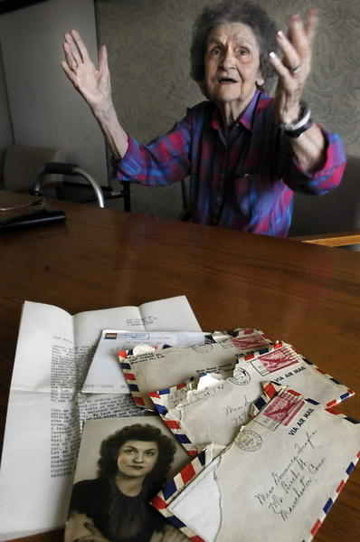 "At Manchester Manor Health Care Center Wednesday, Domenica ""Sunny"" Fike talks about her longtime correspondence with Geraldine Anderson of Hawaii. The two have been pen pals since 1940"