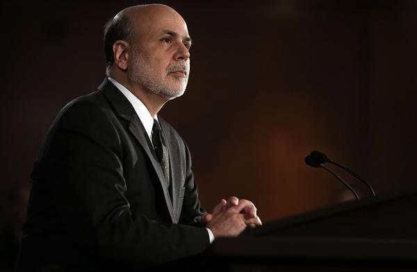 Federal Reserve Chairman Ben S. Bernanke speaks at a news conference in Washington after a two-day meeting of the Federal Open Market Committee, which made no changes to the Fed's monetary policies.