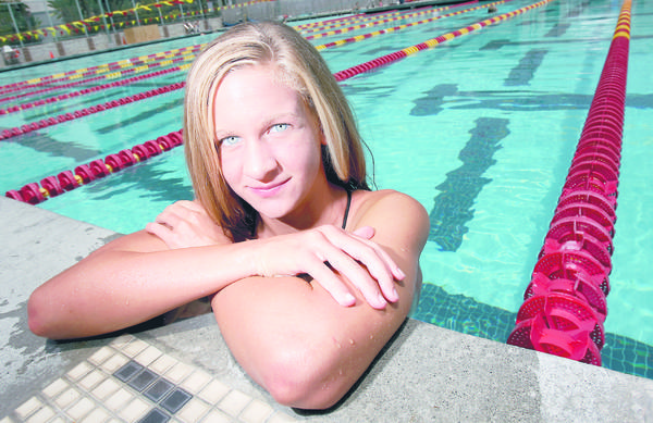 FILE PHOTO: Flintridge Sacred Heart Academy swimmer Andrea Kropp photographed at the Pasadena City College Aquatic Center in 2007. After claiming an Ivy League championship at Princeton University in 2011, the former Tolog transferred to USC and put on a redshirt for her sophomore season.