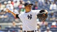 NEW YORK - Hiroki Kuroda won for the first time in six starts by working in and out trouble over 6 2/3 innings against his former team and the New York Yankees opened a day-night doubleheader with a 6-4 victory over the Los Angeles Dodgers on Wednesday afternoon at Yankee Stadium.
