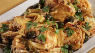 Crispy braised chicken thighs with olives, lemon and fennel