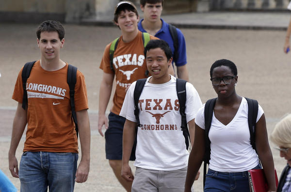 The U.S. Supreme Court is expected to rule this month on the Fisher vs. University of Texas case, which is a lawsuit brought by a white student who was denied admission to the university and claims that she experienced racial discrimination. Above: Students walk through the University of Texas in Austin, which is among the most diverse college campuses in the country.