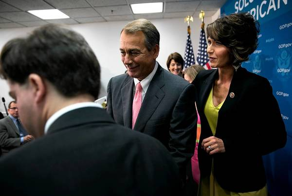 "House Speaker John A. Boehner, shown last week with Rep. Kristi Noem (R-S.D.) after speaking with reporters, regularly insists that jobs and the economy are the ""No. 1 concern"" of his Republican majority."