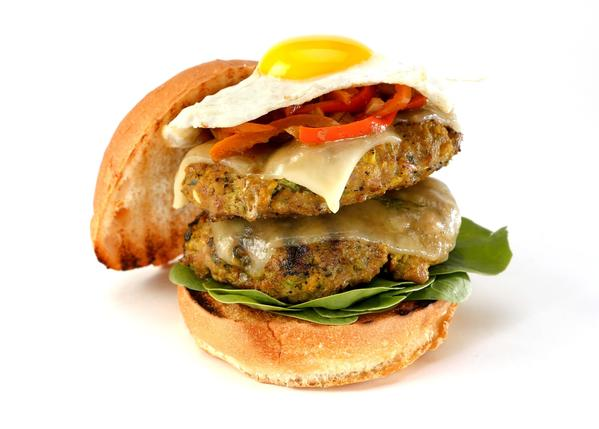 "The Green curry chicken burger -- ""ultimate fusion"" -- from Winston Woo of Orange County"