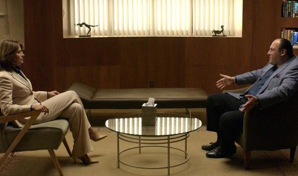 Tony Soprano (James Gandolfini) tells his troubles to Dr. Melfi (Lorraine Bracco).